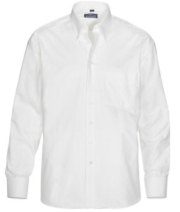 Skjorta med ganska smal krage som knäpps, en så kallad button down krage.